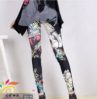 Wholesale sexy women s leggings fashion street style letters graffiti digital print leggins ladies pants spandex tights clothes cheap clothing