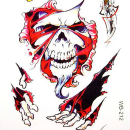 Wholesale Hot sale Temporary Tattoos Skeletons Pattern Design Vivid Tattoo Sticker can mixed order