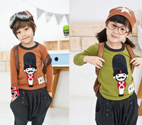 Wholesale New style fashion Tommy cartoon children clothes boys and girls T shirts bottoming shirt