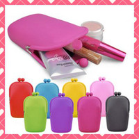 Wholesale 6PCS silicone coin purse makeup make up bags purse money bag japanese style wallet