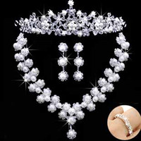 Wholesale pop Wedding Jewelry Sets Crystal Diamond white lamina flower set Bridal tiaras necklace earring by5i