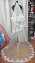 Wholesale 1T New Elegant White ivory M laciness wedding bridal veil without comb Hot Sell