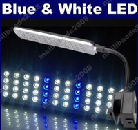 Wholesale 2pcs I01 LED Aquarium Fish Tank Mode Blue amp White LED Claming Clasp Lamp Light