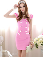 Wholesale women s dresses Round Neck Sexy Lady Dresses pink and dark blue colour Tight fitting