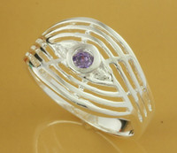 Wholesale Free shippping silver plated Women s jewelry beautiful purple crystal ring PR202