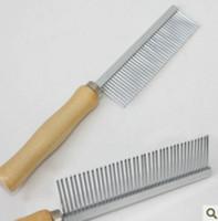beauty arrangement - Pet dog wooden handle needle comb cat stainless steel single arrangement beauty hair comb