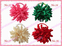 Wholesale fashion korker hair bow pony elastic mix color girl baby hiar pony holders