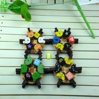 Wholesale Free cm Korean Countryside Cartoon Bear Rabbit Cat Frog Wooden Memo Clip Wedding Baby Clip