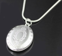 Wholesale Women s party gift jewelry silver plated oval locket pendant necklace PN634