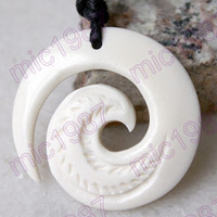 Wholesale Free ship Hot NEW ZEALAND Maori Ox Bone Carved quot KORU quot Pendant Handmade Hawaiian Necklace