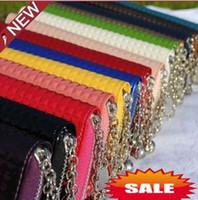 Wholesale Women s Zipper PU Leather Wallet Clutch Grid pendant card Purse Long Handbag Candy colors Lady Bag