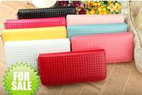 Wholesale Hottest Zipper PU Leather Wallet Clutch Grid pendant card Purse Long Handbag Lady Bags Alloy jewelry