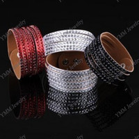 Wholesale Fashion Leather Bangle Wide Bracelet With Five Rows Crystal