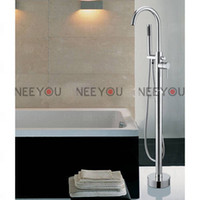 Wholesale Solid Brass Floor Standing Tub Shower Faucet with Hand Shower Chrome finish Free Stand Mixer