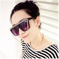 Wholesale 10pce Most Popular Sunglasses Designer Sheet Material with Metal Chain Sunglass Availbale AC UV400CE