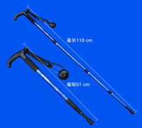 Wholesale Outdoor Walking stick Fold Alpenstock Hiking Stick Retractable Aluminium Alloy straight amp T shaped