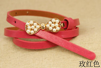 Wholesale DHL western lady rhinestone belt more colors summer clothes crystal skinny pearl belt