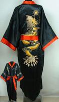 Wholesale Reversible Red blacks Men s Silk Satin embroidery dragon Kimono Robe S M L XL XXL