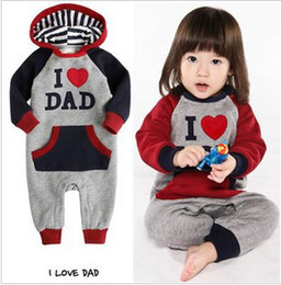 Wholesale Baby onesies boy One Piece romper long sleeve romper I LOVE DAD and I love MUM romper kungfuboy