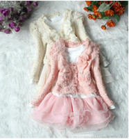 Wholesale Toddlers Autumn piece set Outerwear Long sleeved T shirt girl costume girl set edison168