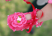 10CM-12CM Crochet Shoes Girl Pearl rose flower Crochet handmade knit Baby Booties shoes cotton yarn Child sandals 0-12 month old