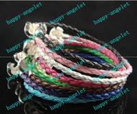 Wholesale 30pcs classic logo Hand knit LEATHER BRACELETS BRAIDED Brace lace CLASP BRACELETS Fit Eur Big Hole Bead charms DIY Jewelry mix color