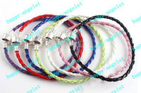 cord stoppers - New pandora chain fit European beads mix color Hand knit Hide Rope Charms Bracelets Stopper Clasp Leather Brace lace cm