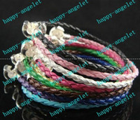 Wholesale DIY LEATHER BRAID Bracelets Stopper Clasp BRACELET cm Fit European Charms Beads Brace lace