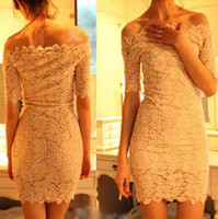 Wholesale Fashion New Sexy Women Lace Off Shoulder Short Sleeve Strapless Dress Club Dress