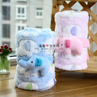 Wholesale Baby s Blankets stereo elephant Coral fleece Blankets Multi purpose Printing cloak blanket color