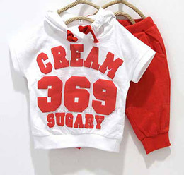 Wholesale 5sets baby girls boys cream short sleeve hoodies pants clothing set childrens yellow red