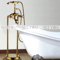 Wholesale Bathroom Dual Handle Telephone Floor Stand tub Faucets Brass Gold Finish shower mixer