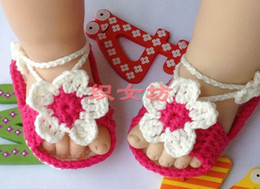 Wholesale Cheap flower Crochet handmade knit Baby Booties cotton yarn Soft soles shoes sandals month old