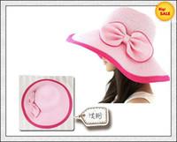 Wholesale Sun Hats Wide Brim Hats Summer Hats Caps Straw Hats Cheap Foldable Hats with Bowknot Pink Hot Sale