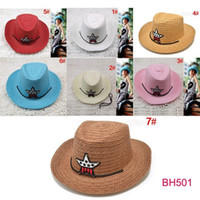 Wholesale baby summer Straw hats sunbonnet kids five star sun hats baby caps children top hat baby topee