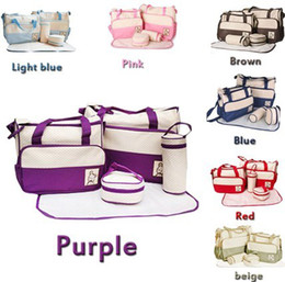 7 Colors 5Pcs Set Baby Diaper Bag Mummy bags Women Handbag Nappy Tote Shoulder Bag