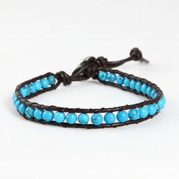 Turquoise elegant beads beaded friendship leather wrap bracelets jewelry