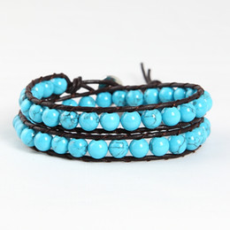 Turquoise classic beads beaded double friendship leather wrap bracelets jewelry