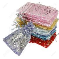 al por mayor bolsas de regalo bolsas-Los bolsos calientes de la bolsa del regalo de la joyería del Organza de las ventas con la manera mezclada FX44-100 del tamaño 9 * 7CM del color liberan el envío