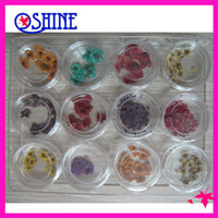 Cheap New 12 Colors Dried Dry Flower Acrylic Nail Art Decorations Design UV gel Decoration Tool in Box