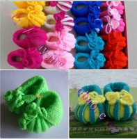 Girl crochet yarn - Cheap comfortable flower Crochet handmade knit Baby Booties cotton yarn Wool shoes month old
