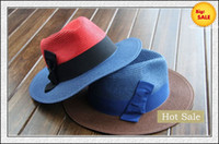 Red Cowboy Woman Cool Best Straw Hats Wide Brim Hats Fashion Top Hat Womens Summer Caps Ladies Hats with Bowknot Sale