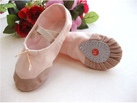 Wholesale Children Dance Shoes Baby Shoes Girls Simple Design Ballet Shoes Canvas Pink White BSO
