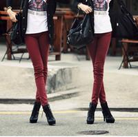 Wholesale New Women s Fashion Candy Color Slim Pencil Jeans