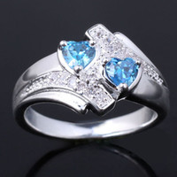 Wholesale Ladies X5 Dual Hearts Blue Topaz Silver Ring Yin J7965 Size Wedding Jewelry