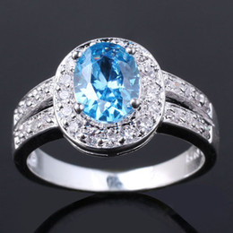 Wholesale Lady Shining Cz Embed Oval Blue Cubic Zirconia Silver Rings Engagement Rings Multiple Sizes Color for Choice R013