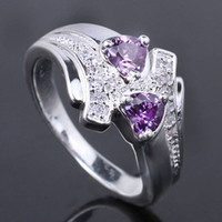 Wholesale Womens X5 Dual Hearts Purple Amethyst Silver Ring Yin J7976 Size Rings Jewellery