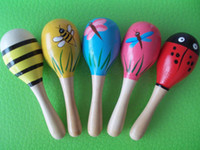 Wholesale 20pcs Hot Sale Baby Wooden Toy Rattle Cute Mini Baby Sand Hammer maracas musical instrument