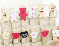 Wholesale 240 Pieces Korean Countryside Emotional Cartoon Bear Wooden Memo Clip Wedding Stationery Baby Clips