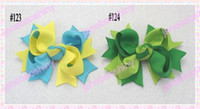 Wholesale fashion two tone Boutique hair bows popular girl hair bow clips